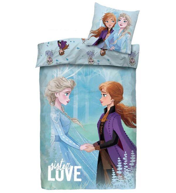 Frost Sengetøj - Junior - Lyseblåt m. Elsa & Anna
