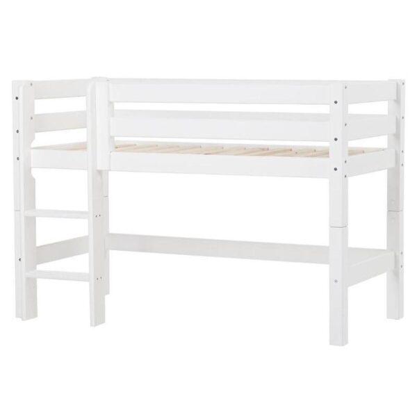 Hoppekids PREMIUM halvhøj seng m. ryglæn og stige - Hvid - Flere størrelser