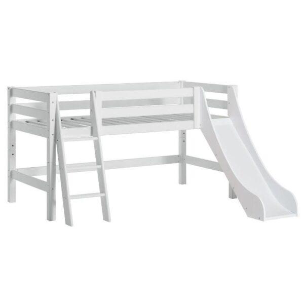Hoppekids PREMIUM halvhøj seng m. skrå stige og rutsjebane - Hvid - Flere størrelser