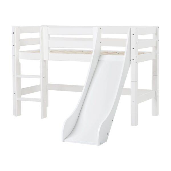 Hoppekids PREMIUM halvhøj seng m. stige og rutsjebane - Hvid - Flere størrelser
