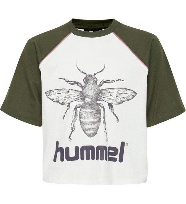 Hummel Teens T-shirt - HMLLanna - Armygrøn/Creme m. Insekt