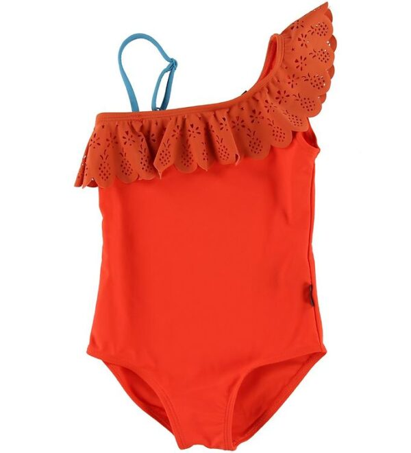 Molo Badedragt - Net - Coral Red m. Blonde