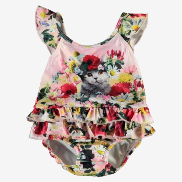 Molo badedragt - Flower Power Cats - 62/68 (4-6 mdr.)
